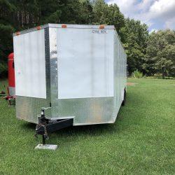 2018 Cynergy V-nose, tandem axle cargo trailer.